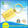 Square Shape Keychain with Golden Color and Single Ring