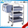 Square Tube Cleaning Clearing 90degree Legs Garbage Cart with Bin and Basket