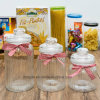 Factory Wholesale Holiday Design Food Clear Storage Glass Jar with Glass Lid (100035)