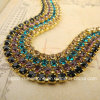 Super Closed Lace Trim Rhinestone Brass Cup Chains 2.8mm (TCS-ss10)