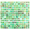 American Style Square Green Stained Glass Mosaic Tile for Bathroom