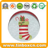 Christmas Stocking Chocolate Tins Round for Metal Promotional Gifts Packaging