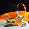 Round Clear Glass Trophy Award with Resin Base