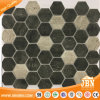 Hexagon Wooden Design High Quality Glass Mosaic Tile (V645009)