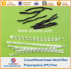 Curved Undee Wave Polypropylene PP Fiber White Black Color