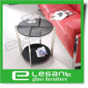 Stainless Steel End Table with Grey Tempered Glass Top