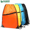 Popular Nylon Polyester Drawstring Backpack Bag with Front Zipper Pocket
