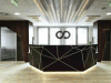 Black Corian Solid Surface Matt Surface Office Reception Desk