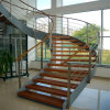 House Indoor Antique Wooden Staircase with Stainless Steel Rod Railing