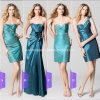 2015 Fashion Green Taffeta One Shoulder Bridesmaids Dress