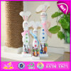 2015 Children Wood Crafts Coloful Wooden Rabbits, Wooden Rabbit Craft for Christmas, High Quality Wooden Rabbit Decoration W02A088