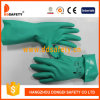 Ddsafety 2017 Green Nitrile Industry Unlined Straight Cuff Safety Gloves