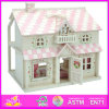 2014 New Kids Wooden Doll House Toy, Popular Lovely Children Wooden Doll House, Beartiful Princess DIY Wooden Doll House W06A041