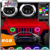 High Power 7 Inch 50W RGB Headlight for Jeep Wrangler Headlight High and Low Beam LED Round Headlight with RGB Halo Ring