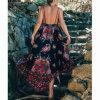 Fashion Women Sexy Casual Chiffon Printed Backless Slip Dress