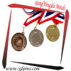 Factory Custom Logo Design Sport Souvenir Metal Gold Silver Brass Medal with Ribbon