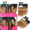 Peruvian Virgin Straight Hair 3 Bundle Deal Thick Ombre Hair with Closure T1b 30 Straight Human Hair Bundles