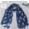 100% Viscose Cartoon Elephant Printed Shawl Fashion Lady Scarf