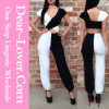 Half White Half Black Cross Bodice Jumpsuit