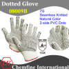 7g Natural Color Polyester/Cottonknitted Glove with 2-Side Black PVC Dots/ En388: 112X