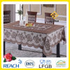 PVC Vinyl Crochet Lace Ready Made Tablecloth (JFTB-309A-Brown)