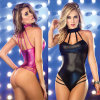 Fancy Nice Quality Black Luxury Patent Leather Lingerie Sexy Underwear