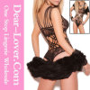 Black Lace Cutouts Teddy