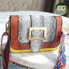 2017 New arrival snake printed fashion handbag PU leather shoulder bag with colorful strap SY8530