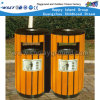 Outdoor Wooden Trash Can Public Waste Bin for Sale (HD-18105)