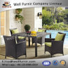 Well Furnir Wicker 5 Piece Square Patio Dining Set