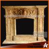 Natural Stone Freestanding Indoor Fireplace Designs