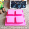 Pink 6 Square Shaped FDA Rubber Silicone Cupcakes Mold with High Quality