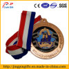 Custom Copper Plated Metal Sport Award Medal with Ribbon