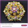 Hot Sale Elegant Style Gorgeous Gold Rhinestone Flower Brooch 5365