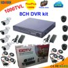 8 Channel Standalone DVR Kit with CMOS 1000tvl Camera