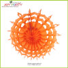 Orange Snowflake Paper Fan Halloween Decoration