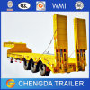 3 Axles 60 Tons Lowbed Trailer with Hydraulic Ramp