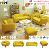 Nordic Modern Furniture Wood Sofa Set with Yellow Fabric (HC1168)