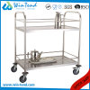 2 Tiers Round Tube Hand Push Moving Beverage and Water Bottle Service Trolley