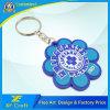 Professional Custom Flower Shape/Company Logo PVC Rubber Plastic Key Chain Ring for Souvenir (XF-KC-P07)