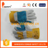 Ddsafety 2017 Reinforced Green Leather Palm Yellow Cotton Back