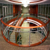 Tempered Curved Architectural Glass Balustrade with Stainless Steel Round Baluster