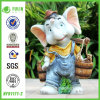 Resin Endearing Farming Elephant Figurine (NF91171-2)
