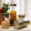 Free Sample 4 Sets Clear Glass Storage Jar/ Glass Jar for Food Storage with Metal Lid