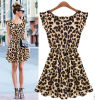 2015 New Fashion Sweet Girl′s Leopard Dresses
