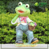 Resin Environmentally Friendly Garden Frog Statue (NF14127-2)