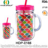Double Wall Plastic Mason Jar with Handle and Straw (HDP-0166)