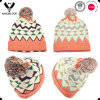 2016 Stylish Multicolor Geometry Jacquard Knit Hat with Pompom