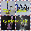 Twist Flower Embedded Delicate Small Glass Water Pipe for Smoking