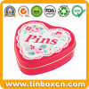 Chinese Factory Metal Storage Box Gift Heart Tin for Pins